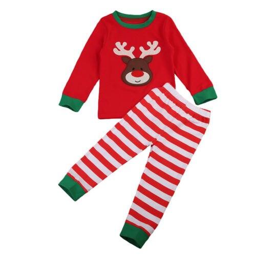 Christmas Children Kids Girls Pyjamas Pjs Set Nightwear Xmas Deer age 1-7Y UK ...