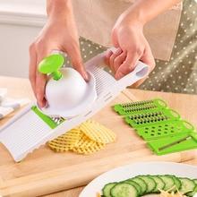 PREUP 5 en 1 Multifunción ABS Hoja de Acero Ajustable Herramientas de Cocina Vegetal Fruta Slicer Cortador Rallador Accessorries