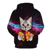 Newest Cool 3D Print Cute Cat Eatting Pizza Space Hoodies Fashion Men And Women Long Sleeve
