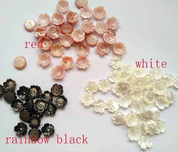 Haute qualité 50 pcs Rose vadrouille coquille bijoux 10mm Fluorial tasse casquettes Rose fleur sculpté violet Rose rouge noir blanc coquille perles