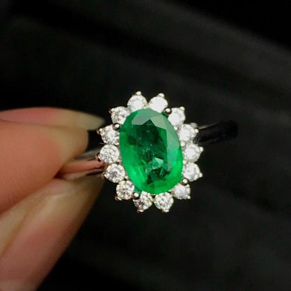 Bijoux de luxe naturel émeraude ovale 6*8 anneau 100% réel 925 bague en argent Sterling pour les femmes bijoux fins