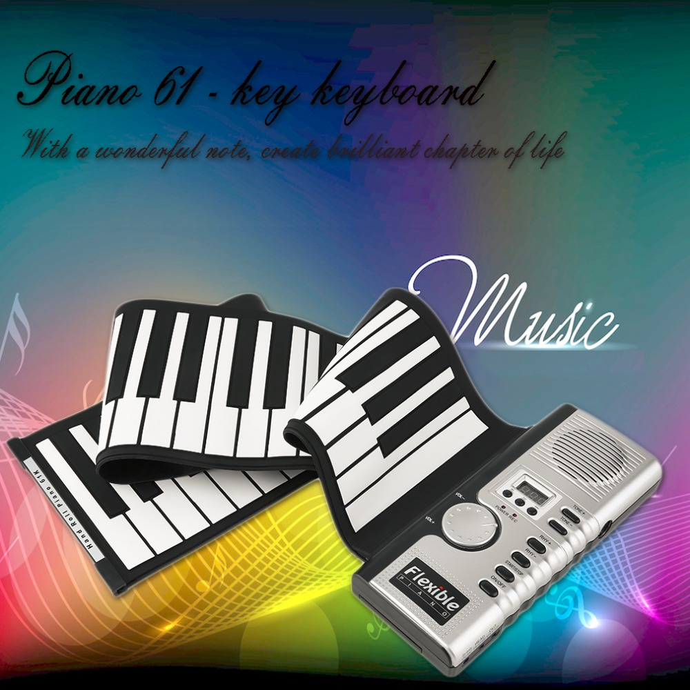 2016 New Portable 61 Keys Universal Flexible Roll Up Electronic Piano Soft Keyboard Piano Wholesale