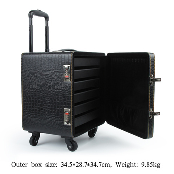 New PU leather trolley jewellery box special suitcase for business customization exhibition jewellery box with