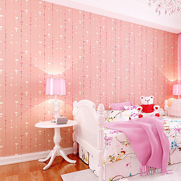 Pink Wallpaper For Kids Non Woven Textured Feature Wall