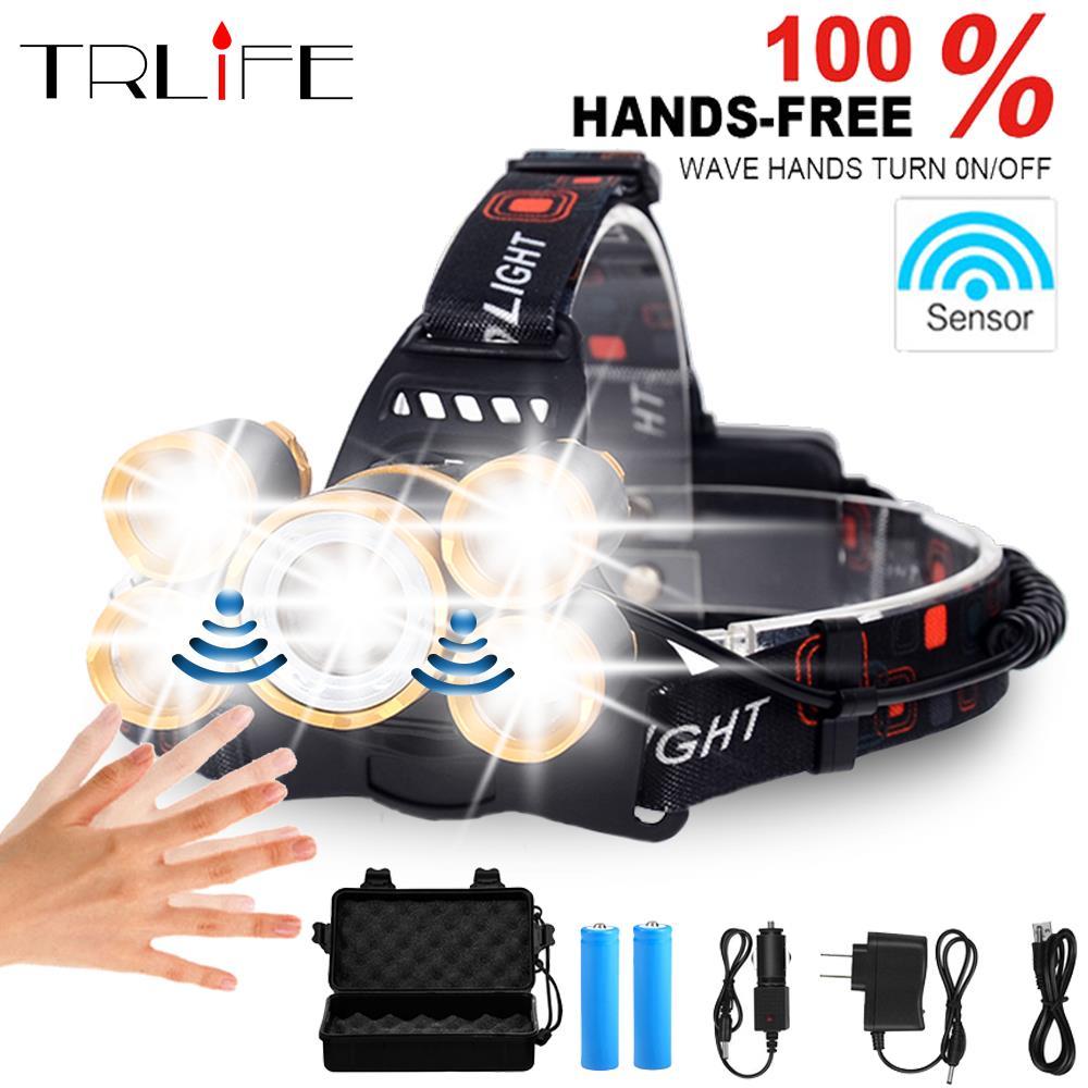 70000Lums Sensor LED Scheinwerfer T6 High Power laterne Kopf Lampe Wasserdicht LED Scheinwerfer Taschenlampe Kopf licht wiederaufladbare 18650