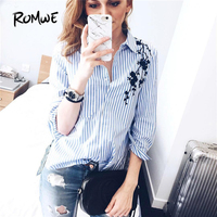 ROMWE Autumn Casual Womens Tops And Blouses Ladies Blue Striped Lapel Long Sleeve Embroidery Pocket High