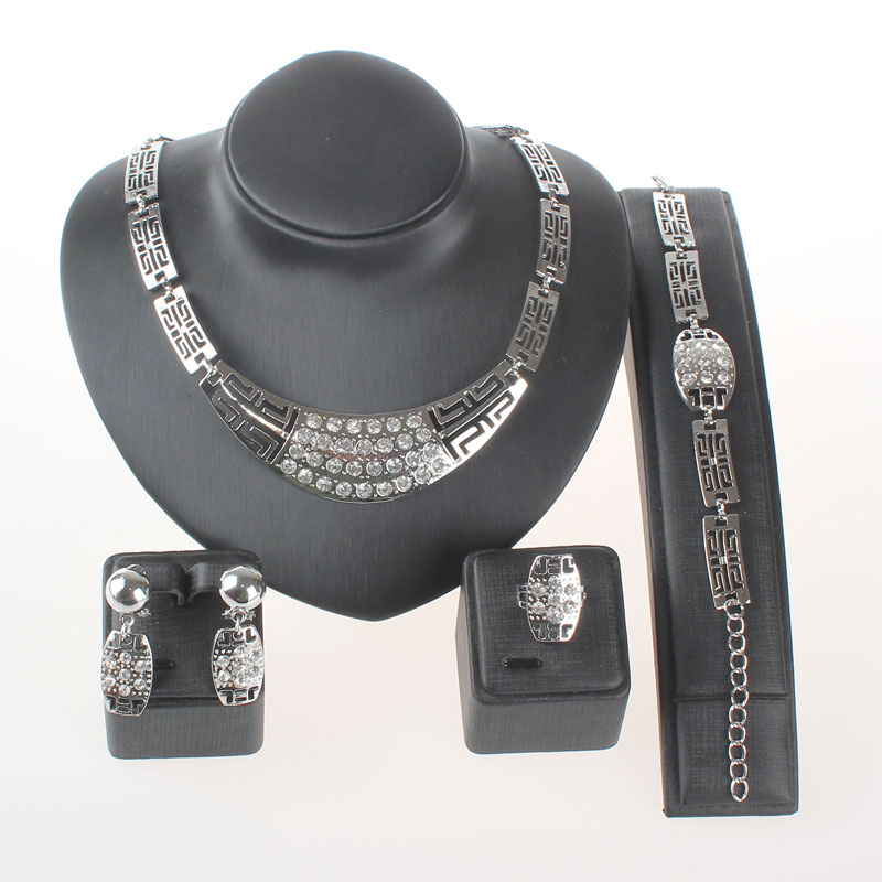 Jewelry Sets For Women Wedding Bridal Party Crystal Silver Plated Pendant Fine Statement Necklace Earrings Bracelet Rings Set