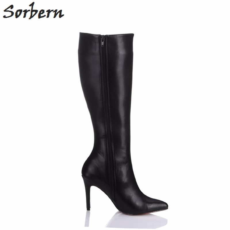 Sorbern Womens Winter Boots Knee High Thin High Heels Big Size 44 Shoes Women Winter Black Booties Custom Colors Pointed Toe