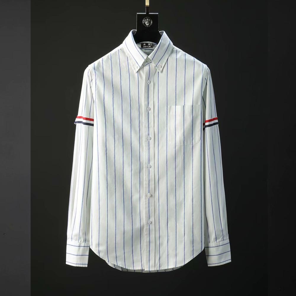 2018 Brand New Fashion Striped Shirt Men 100% Cotton Causal Shirts High quality Long Sleeve Men Business Dress Shirt