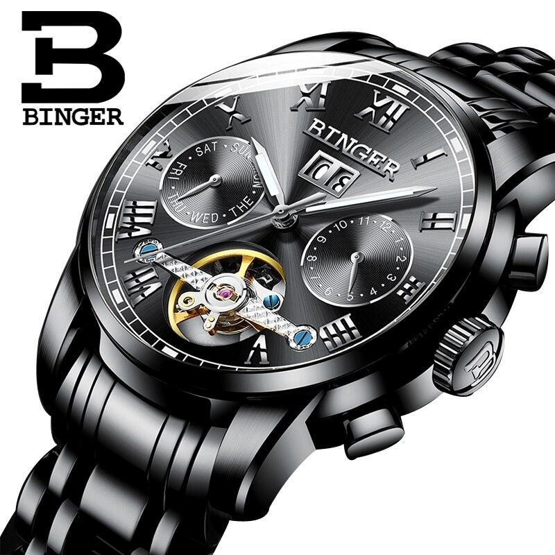 Switzerland BINGER Mechanical Watch Men Wrist Sapphire Luxury Brand Waterproof Tourbillon Watches Male relogio masculin 2018