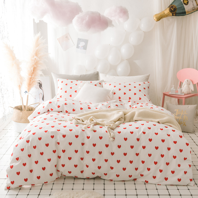 Pink Heart Twin Bedding Set Queen King Size Bed Cotton Sheet Ed Duvet Cover Parrure De Lit Ropa Cama
