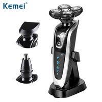 Kemei nuevo 3 IN1 multifunctio recargable Afeitadora eléctrica 5 HOJA washabl afeitar eléctrica afeitadores hombres Cara Cuidado 5d flotante