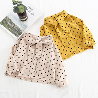 Children Blouse for Girls Blouse Bow knot Tie Dot Cotton Long Sleeve Vintage Shirts for Girls Toddler Shirts School Uniform 2019