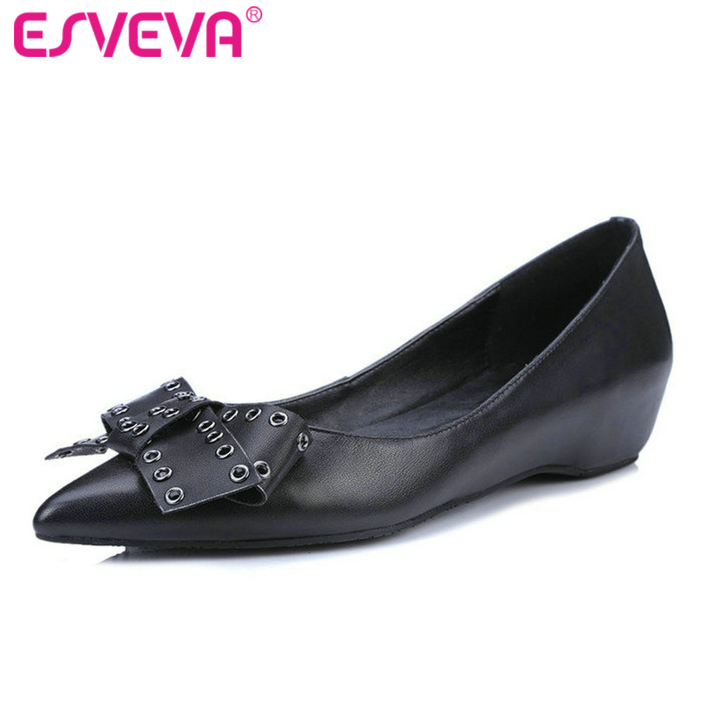 ESVEVA 2017 Pointed Toe Spring Autumn OL Work Shoes Wedges Low Heel Woman Pumps Bow Tie Genuine Leather Women Shoes Size 34-39 new 2016 factory matte shoe women pointed toe red bottom low heel pump lady single ol work career spring fall shoes 678 2suede