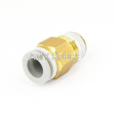 1/4 BSPT Thread to 8mm Hole Tube Air Pneumatic Push in Quick Adapter Jointer KQ2H08-02S brass pneumatic pipe 1 4 bspt to 1 4 bspt male thread m m equal union hex nipple