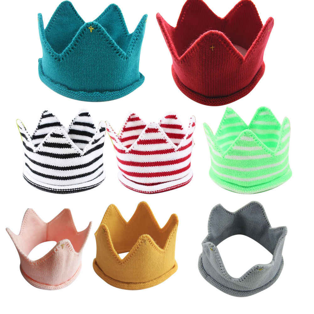 Lovely Baby Toddler Boys Girls Knitted Hats Photography Props Headwear  Crown Shape Strip Caps Y
