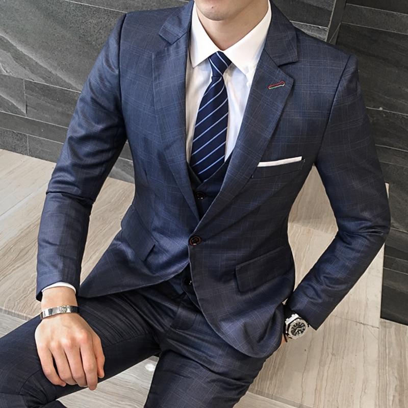 New Brand Blue Grid Men Suits Blazers Wedding Slim Fit Male Tuxedos Suit Groom Prom Party Suits Business Jacket+Pants+Vest 3 PCS
