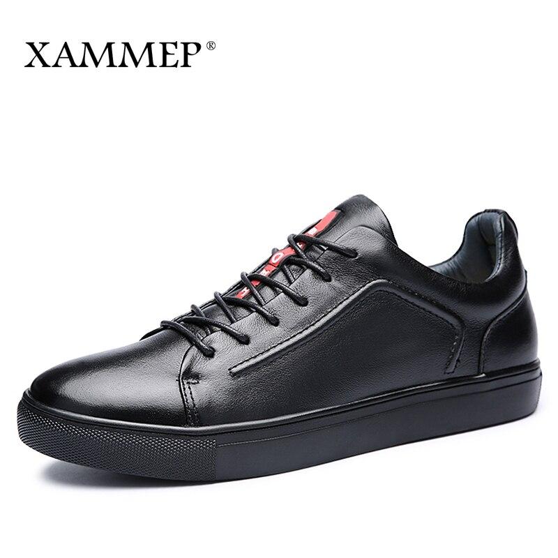 Genuine Leather Men Shoes Casual Shoes Brand Winter Boots For Men Winter Shoes Flats Warm Plush Spring Autumn Big Size 48 Xammep