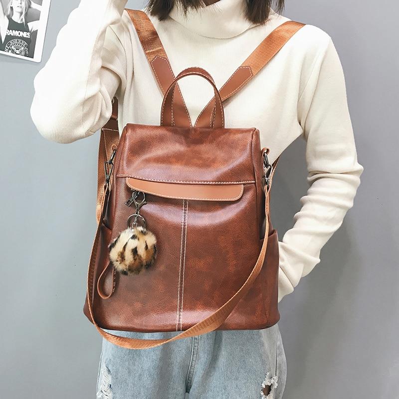 Begeistert Mode Casual Schule Taschen Für Teenager Mädchen Pu Schulter Tasche Weiblichen Weichen Multi-funktion Mode Weichen Pu Leder Tasche Rucksack