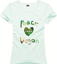 """Peace Love Vegan"" + other designs women shirt / 9 Colors"