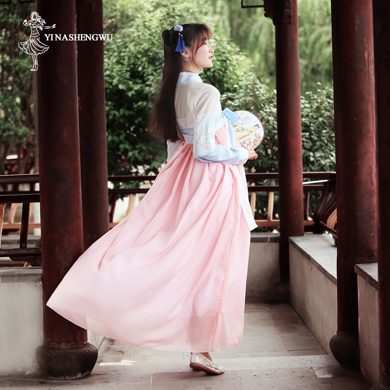 Hanfu Costume Dress Women Improved Hanfu Daily Short Sleeve Hanfu Embroidered Crossdresses Costumes Han Elements Student Set 29