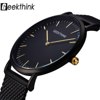 GEEKTHINK Top Luxury Brand Quartz Watch Men Black Casual Japan Movt Stainless Steel Mesh Strap Ultra