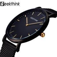 GEEKTHINK Top Luxury Brand Quartz Watch Men Black Casual Japan Movt Stainless Steel Mesh Strap Ultra