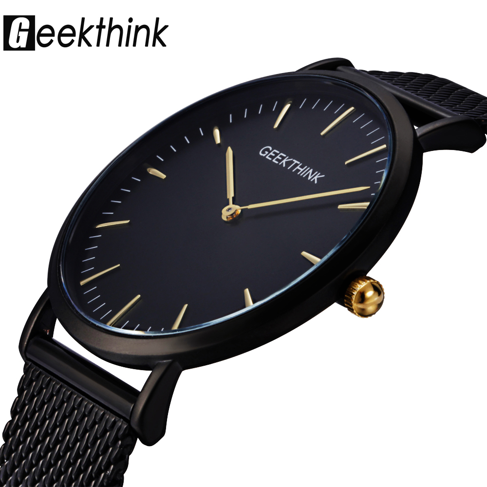 GEEKTHINK Top Luxury Brand Quartz watch men Black Casual Japan Movt stainless steel Mesh strap ultra thin jam male