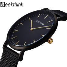 GEEKTHINK Top Luxury Brand Quartz watch men Black Casual Japan Movt stainless steel Mesh strap ultra thin clock male купить недорого в Москве