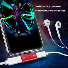 купить Portable 2 in 1 For Lighting to Audio Converter For iPhone X 7 8 Plus Splitter Earphone Jack Aux Cable USB Adapter For ios 12 онлайн