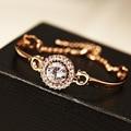 Fine jewelry 2015 new arrival korean luxury brand rose gold crystal zircon bracelet/pulseiras wholesale/bijoux femme/pulseras