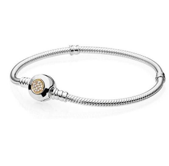 Plata de Ley 925 pulsera de Pandora Momemts dos tono firma pulsera de cadena de serpiente brazalete para las mujeres del encanto del grano de Europa de
