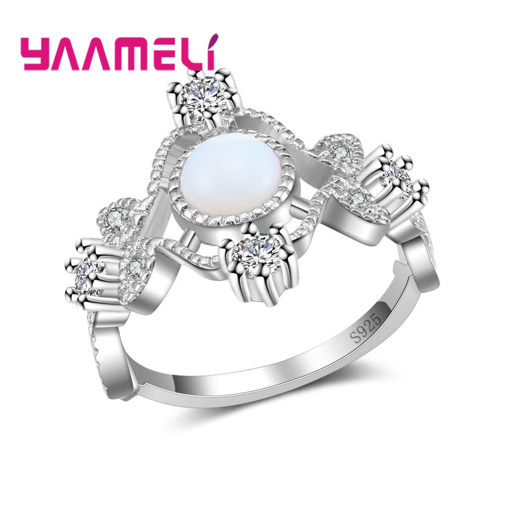 YAAMELI Noble Royal Women Fire Opal Stones Rings for Weddings/Engagements/Party 925 Sterling Silver Fashion Jewelry Accessory
