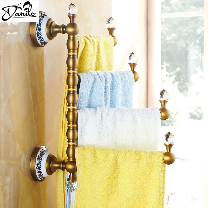 "Reproduction Vintage Bath Towels: Luxury 12.9""Vintage Style Towel Bar Antique Brass Ceramic"