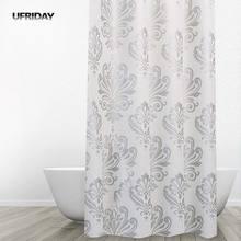 UFRIDAY-rideau de douche PEVA Anti-moisissure européen, imperméable avec motifs de fleurs, pour salle de bain, avec crochets
