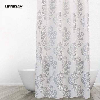 UFRIDAY Retro European Anti-mildew PEVA Shower Curtain Flower Print Waterproof Bath Curtain Bathroom Curtain Product with Hooks