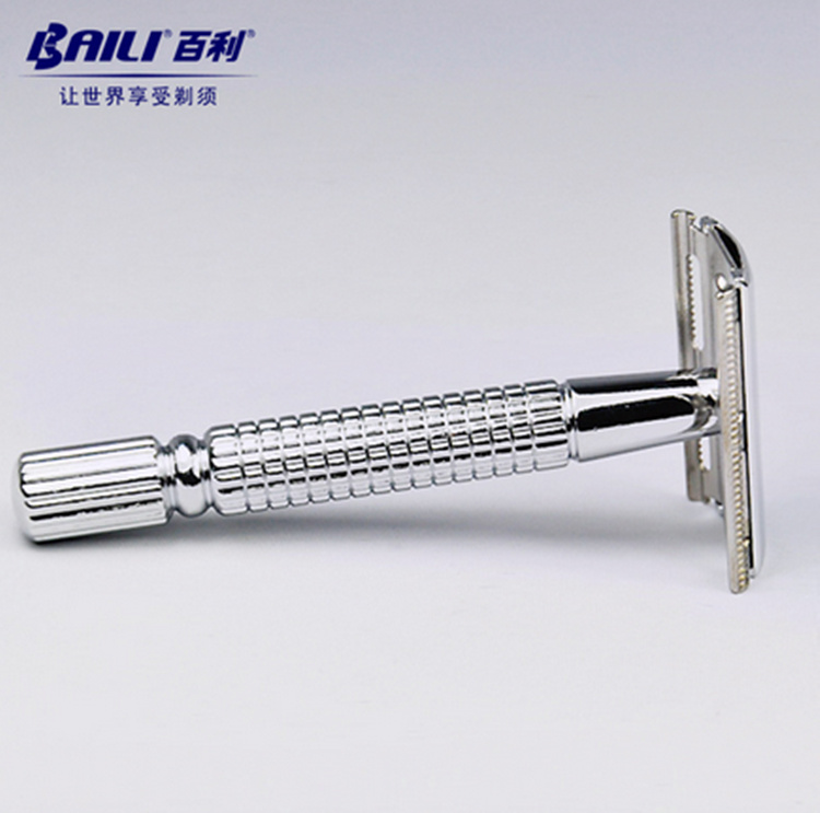 BAILI BT131  Safety Razor Chrome Alloy Top Quality With Packing Sliver Unscrew The Two-sided Turret Manual Shaving Razor