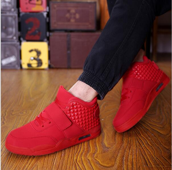 New 2016 Winter Fashion Men Shoes High Top Casual Red Suede Leather Boots Men Trainers Breathable British Style Basket Femme
