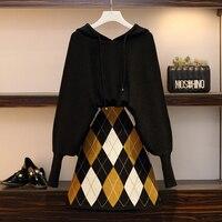Plus Size 4xl 2 Piece Set Women Top And Skirt Fashion Conjunto Feminino Year old Female Costume Ensemble Femme Deux Pieces