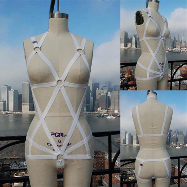 Mujer la muchacha Wihite / jaula sujetador arnés sujetador ropa interior fija MALICE gótico inconformista top bra sexy sujetador arnés bondage inspirado en el pecho