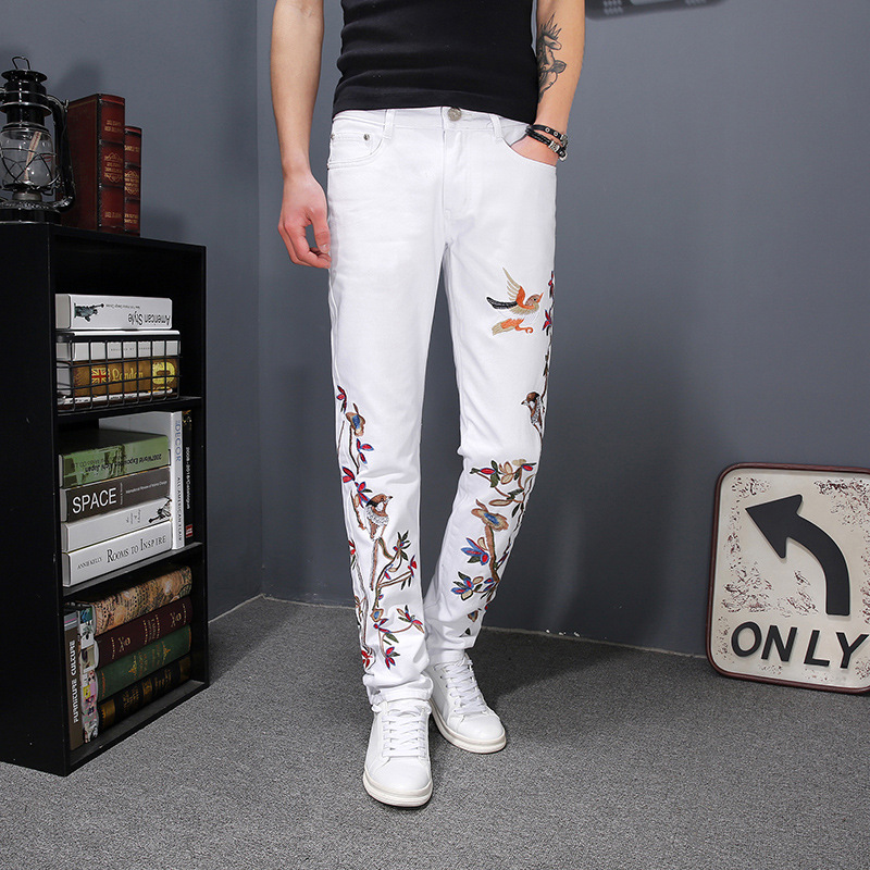 Men's White Long Trousers Chinese Style Slim Animal Embroidery Flowers Pants Pencil Pants Plus Size C14