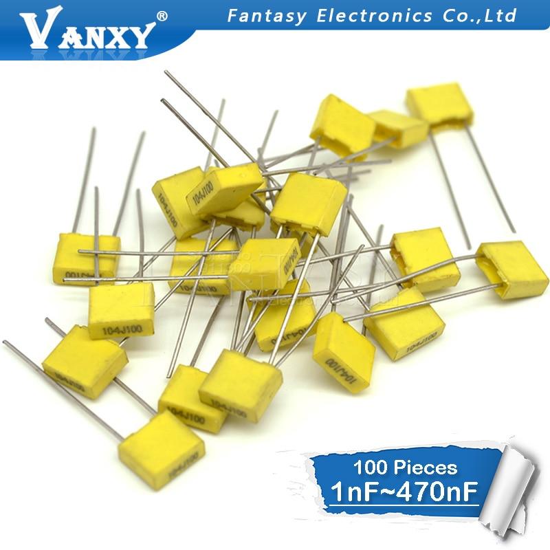 100pcs Polypropylene Safety Plastic Film  100V 1nF ~ 470nF 100nf 220nf 10nf 47nf 22nf 1nf 0.47uf 0.1uf Correction Capacitor