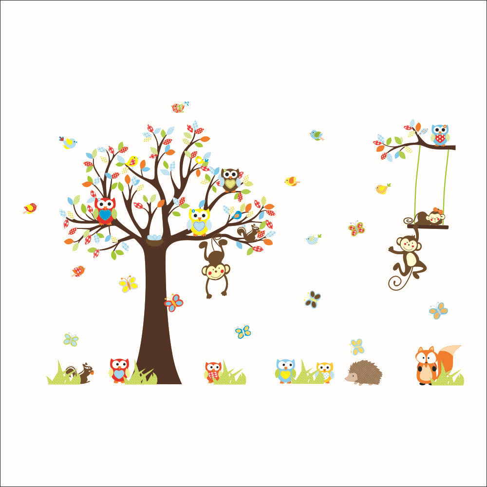 lovely monkeys tree wall stickers for kids room home decoration animals adesivo de parede 1212. cartoon pvc decals mural art 3.0