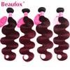 Beaufox Ombre Brazilian Hair Body Wave Bundles 1B 99J/Burgundy Two Tone Ombre Human Hair Weave Bundles 4pcs/lot Remy Hair