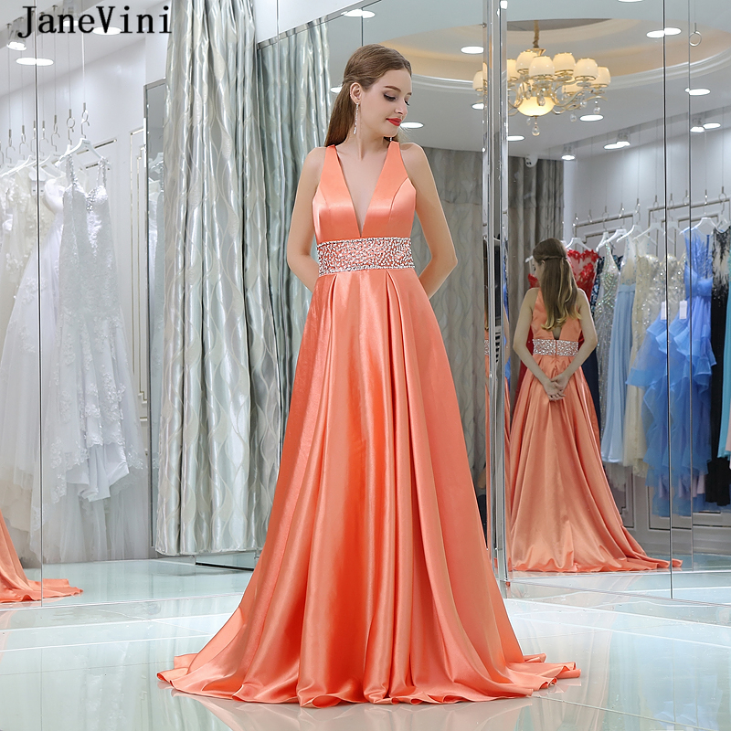 JaneVini 2018 Sexy Deep V Neck Long   Bridesmaid     Dresses   Sweep Train Satin A Line Prom Gowns with Beads Backless Formal Party Wear