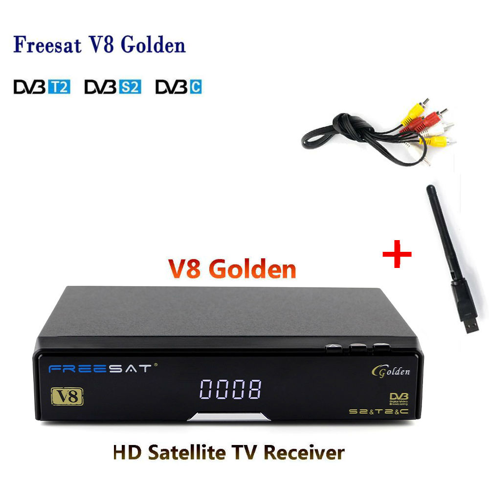 DVB-S2/T2/C Satellite Receiver Freesat V8 Golden Support powervu IPTV box Cccamd Newcamd Youtube Youporn V8 Golden Set top BOX 3pcs lot dvb s2 freesat v7 hd satellite tv receiver support powervu biss key cccamd newcamd youporn 3g dongle with usb wifi