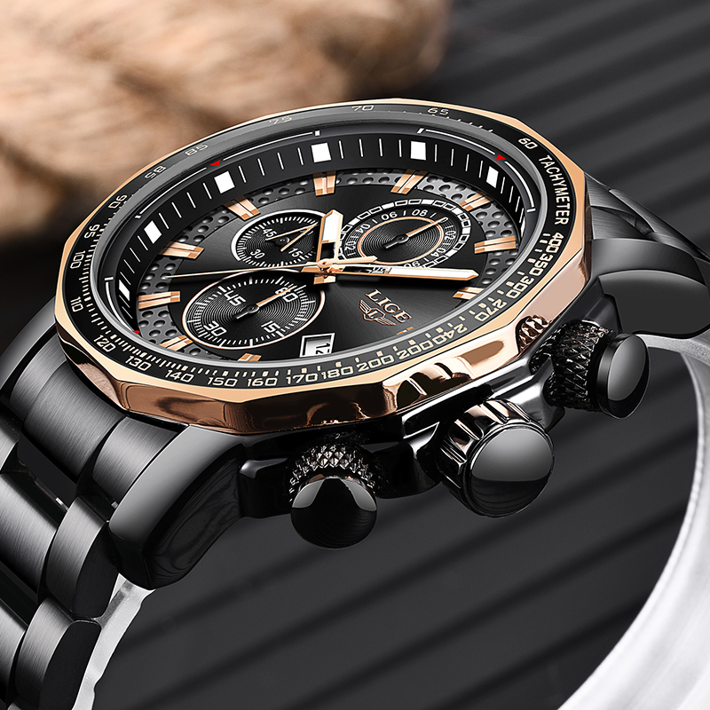LIGE Mens Watches Military Army Chronograph Watch Top Brand Luxury Sports Casual Waterproof Male Watch Quartz Man WristwatchLIGE Mens Watches Military Army Chronograph Watch Top Brand Luxury Sports Casual Waterproof Male Watch Quartz Man Wristwatch