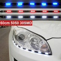 New Hot 2 Pcs x 60 cm 5050 30 SMD DRL Carro Universal Styling Luzes de Circulação Diurnas LED Tiras Com 3 M Fita À Prova D' Água 3 Cores
