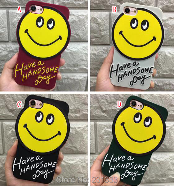 For Iphone X 8 I8 7 PLUS I7 7plus 6 6S IphoneX 3D Cartoon Smile Soft Silicone GEL Case Cute Cell Phone Skin Cover Fashion 50pcs