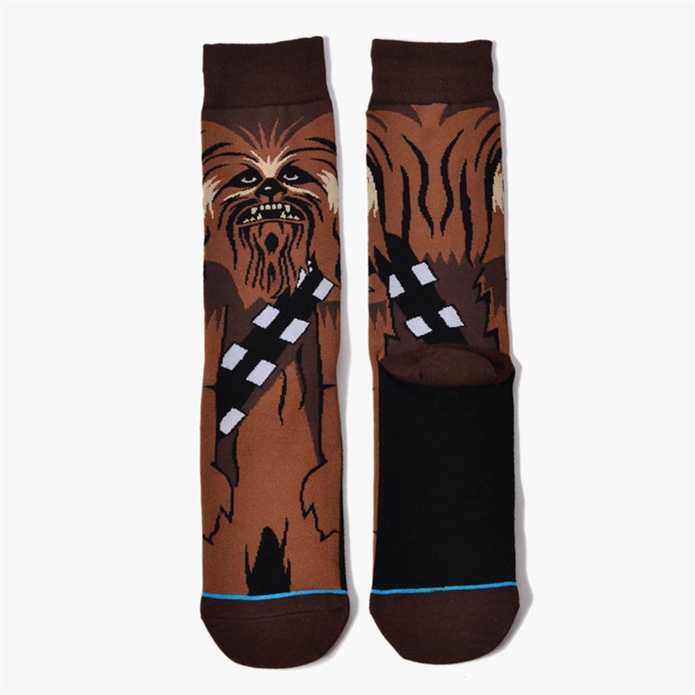 1 Pairs Male Warm Cartoon Print Flag Socks Star Wars The Last Jedi Fashion Funny Cotton Socks Men Women Crew Long Happy Sock